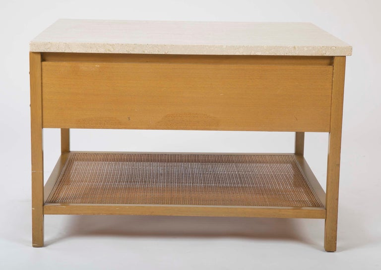 Travertine Top Mahogany Side Table Designed by Paul McCobb  For Sale 1
