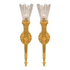 True Pair of French 19th Century Louis XVI St. Ormolu and Baccarat Sconces