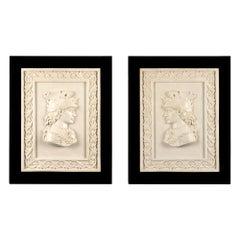 True Pair of Italian 19th Century White Carrara Marble Wall Plaques