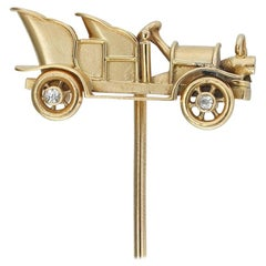 Turn of the 20th Century Gold Car Stick-Pin