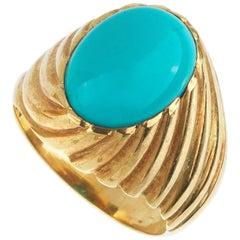Turquoise and 18 Karat Gold Ring