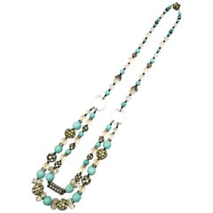 A turquoise and frosted bead, clear crystal and paste sautoir necklace, 1920s