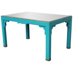Turquoise, Black Glass and Brass Midcentury French Coffee Table, 1960