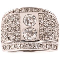 Two-Stone Diamond Cocktail Ring, circa 1940