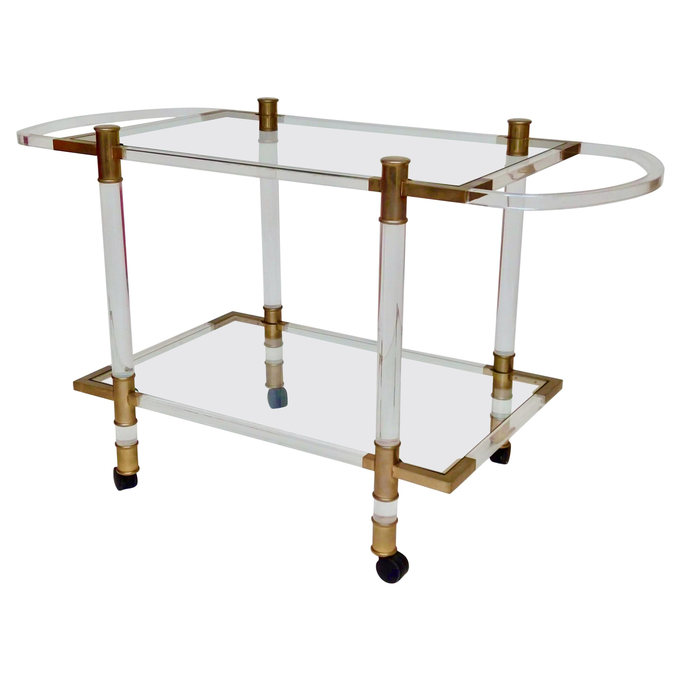 Two-Tier Italian Lucite and Brass-Plated Drinks Trolley / Bar Trolley, c.1970