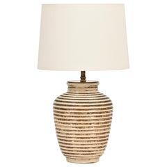Two-Tone Crakle Glazed Ceramic Lamp, by Primavera
