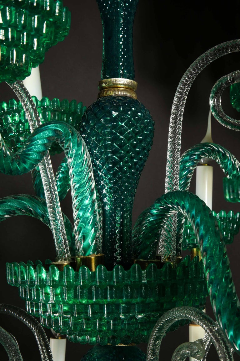 Unique and Large Antique Art Deco Italian Murano Glass Green Chandelier For Sale 8