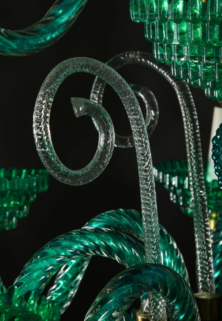 Unique and Large Antique Art Deco Italian Murano Glass Green Chandelier For Sale 9