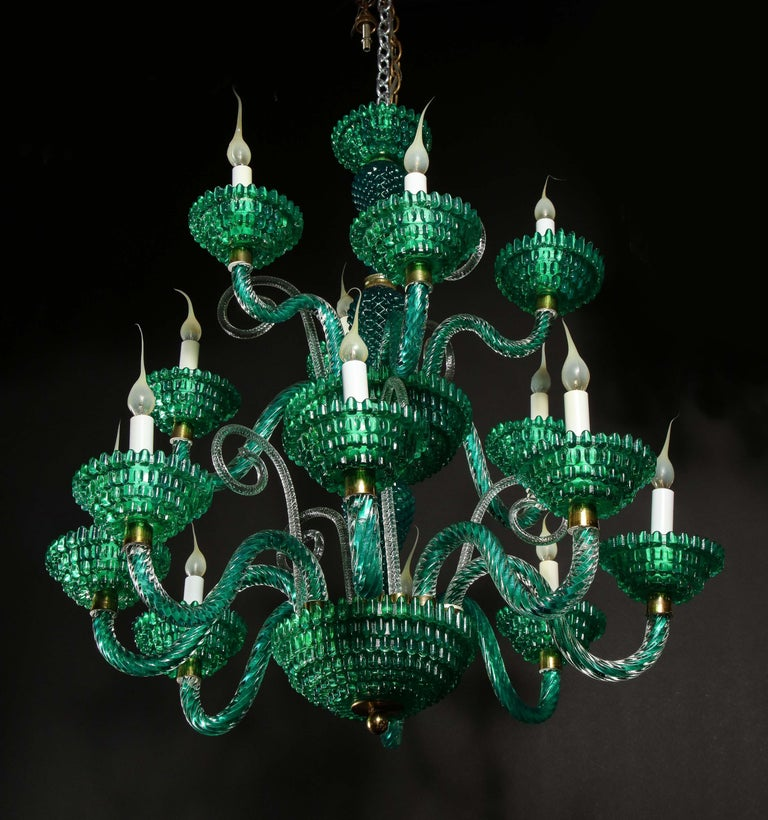 Unique and Large Antique Art Deco Italian Murano Glass Green Chandelier For Sale 10