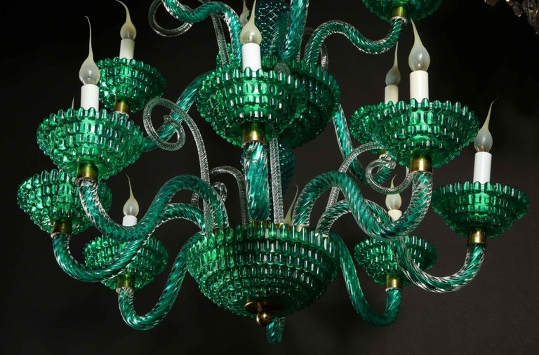 Unique and Large Antique Art Deco Italian Murano Glass Green Chandelier For Sale 11