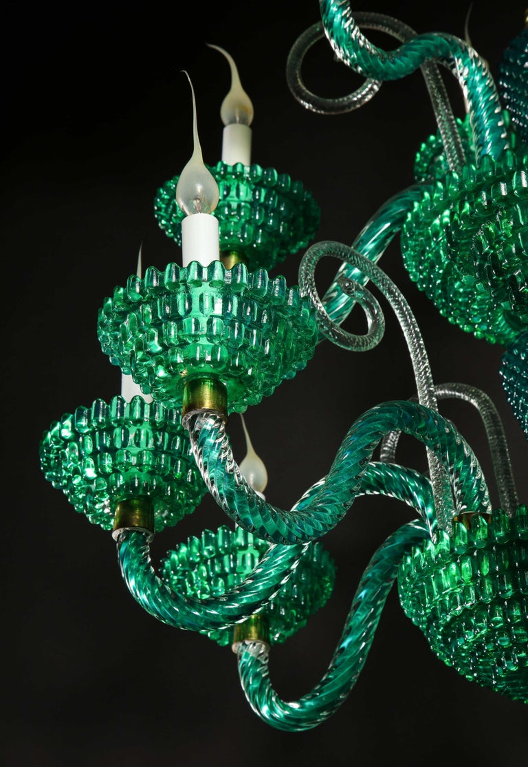 Unique and Large Antique Art Deco Italian Murano Glass Green Chandelier For Sale 12