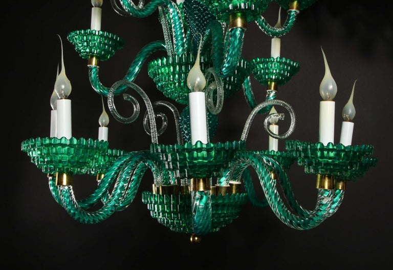 Unique and Large Antique Art Deco Italian Murano Glass Green Chandelier For Sale 13