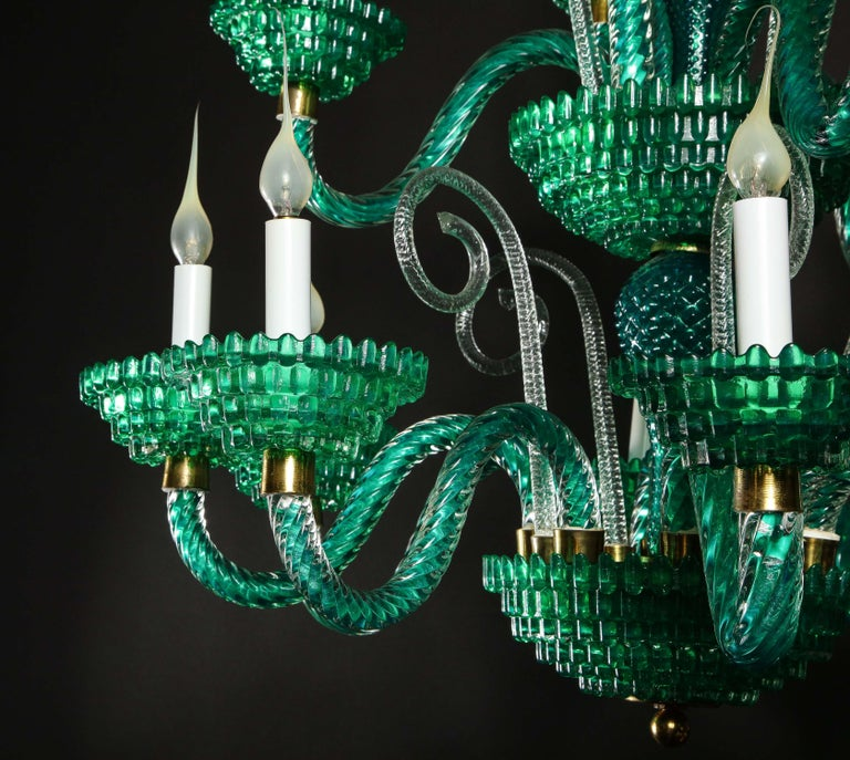 20th Century Unique and Large Antique Art Deco Italian Murano Glass Green Chandelier For Sale
