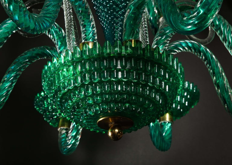 Blown Glass Unique and Large Antique Art Deco Italian Murano Glass Green Chandelier For Sale