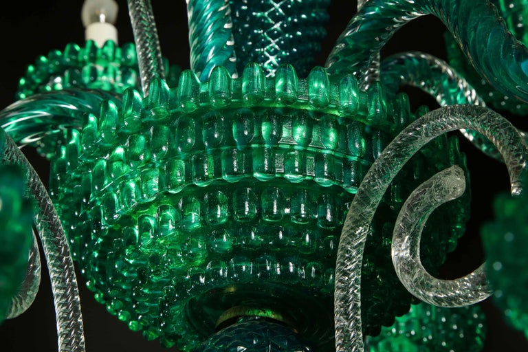 Unique and Large Antique Art Deco Italian Murano Glass Green Chandelier For Sale 1