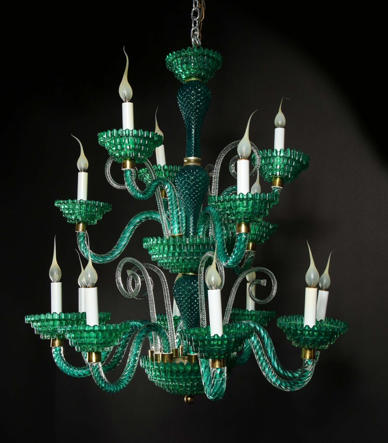 Unique and Large Antique Art Deco Italian Murano Glass Green Chandelier For Sale 2