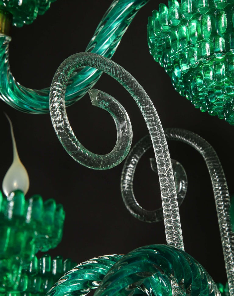 Unique and Large Antique Art Deco Italian Murano Glass Green Chandelier For Sale 3