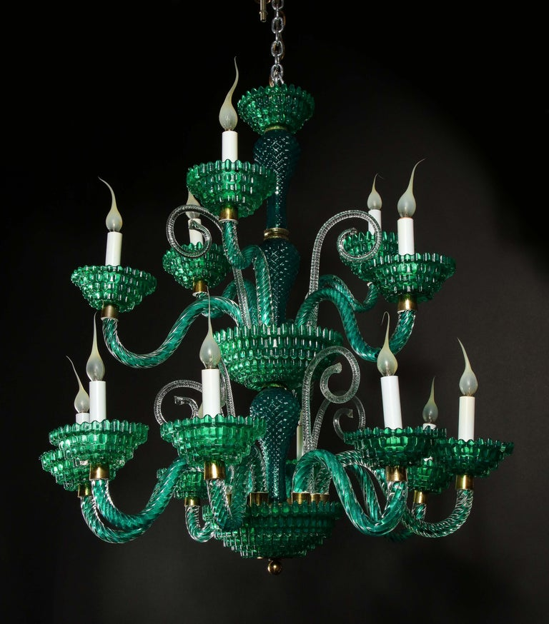 Unique and Large Antique Art Deco Italian Murano Glass Green Chandelier For Sale 4