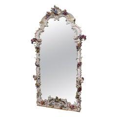 Unique and Monumental Late 19th Century German Meissen Porcelain Mirror