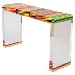 A Unique Contemporary Clear Lucite and Striped Console Table With Brass Feet