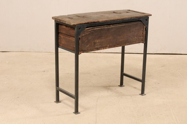 Unique Custom Chest from 18th Century Spanish Drawer with Iron Base and Wood Top For Sale 6