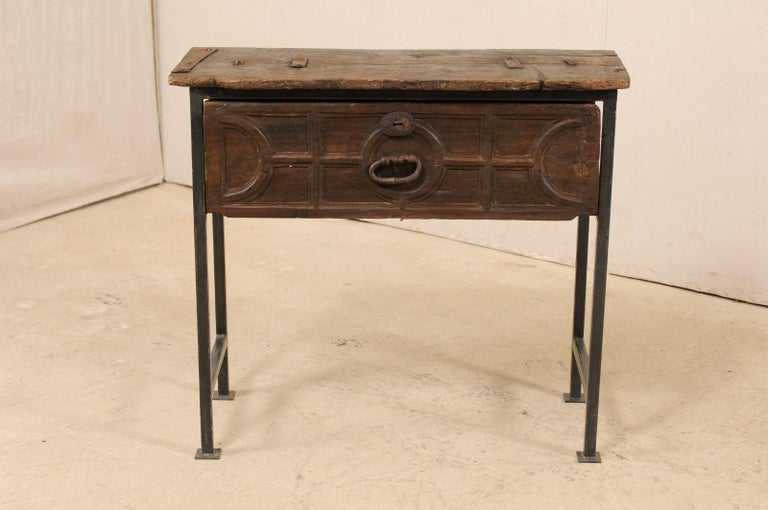 Unique Custom Chest from 18th Century Spanish Drawer with Iron Base and Wood Top In Good Condition For Sale In Atlanta, GA