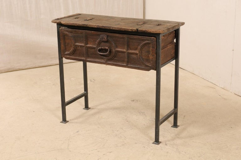 18th Century and Earlier Unique Custom Chest from 18th Century Spanish Drawer with Iron Base and Wood Top For Sale