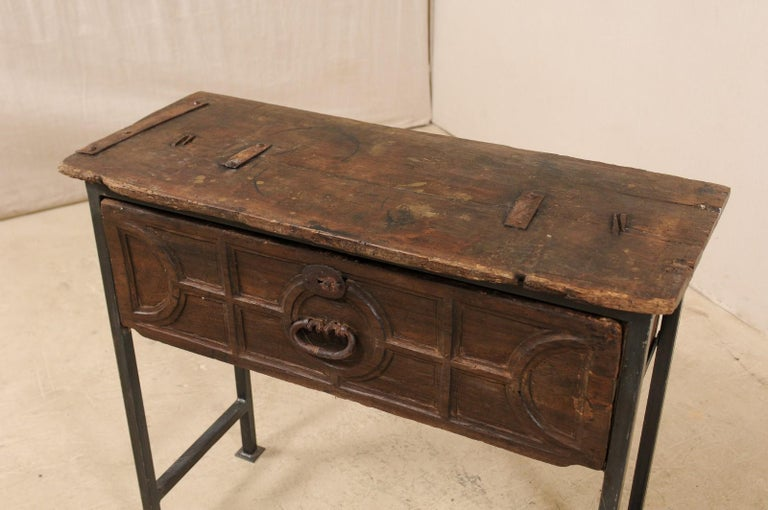 Unique Custom Chest from 18th Century Spanish Drawer with Iron Base and Wood Top For Sale 1