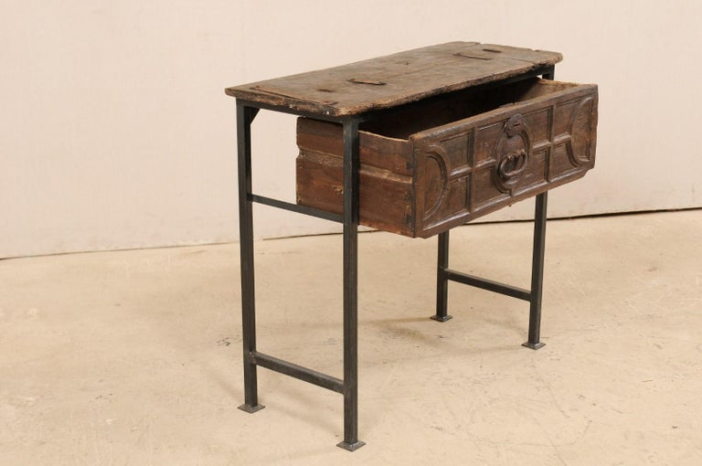 Unique Custom Chest from 18th Century Spanish Drawer with Iron Base and Wood Top For Sale 2