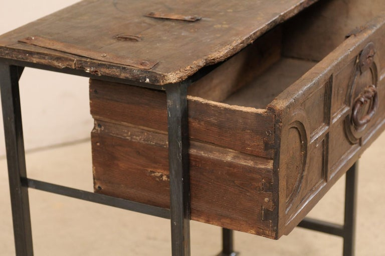 Unique Custom Chest from 18th Century Spanish Drawer with Iron Base and Wood Top For Sale 3