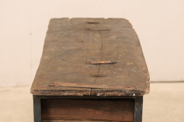 Unique Custom Chest from 18th Century Spanish Drawer with Iron Base and Wood Top For Sale 4