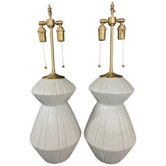 Unique Pair of Elegant Modernist Fluted Gourdes with Exquisite Crackle Glaze