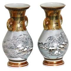 Unique Pair of Fine Kutani Studio Ceramic Vases