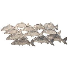 Unique Set of 12 Italian 1950s Silver Plated Fish Menu or Name Card Holders
