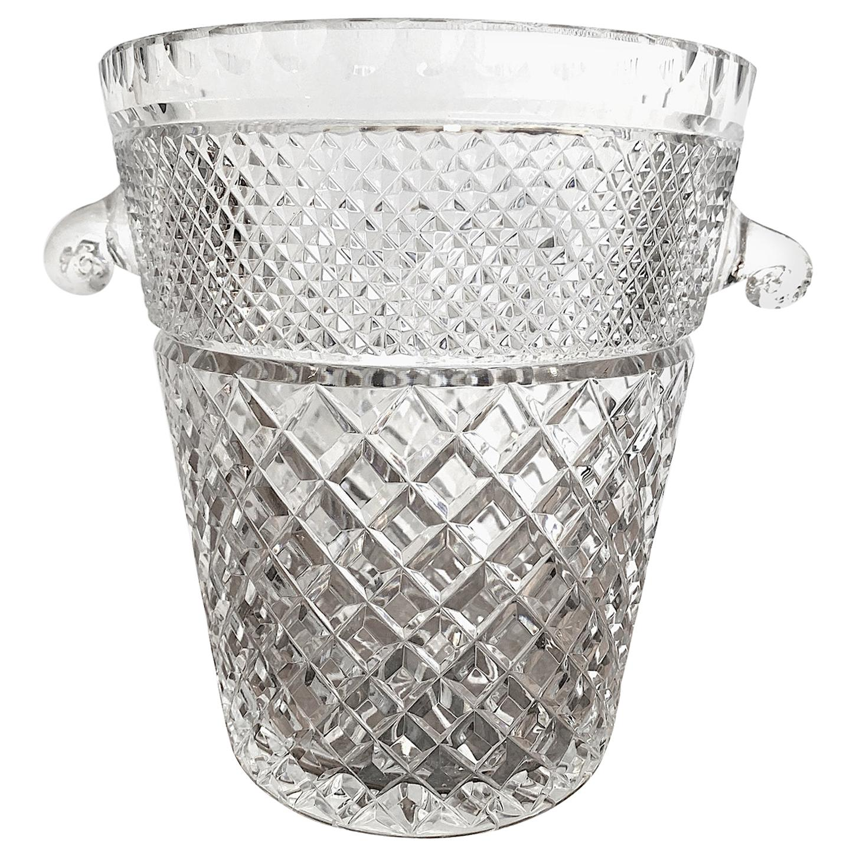Val Saint Lambert Crystal Champagne Bucket with Glass Handles