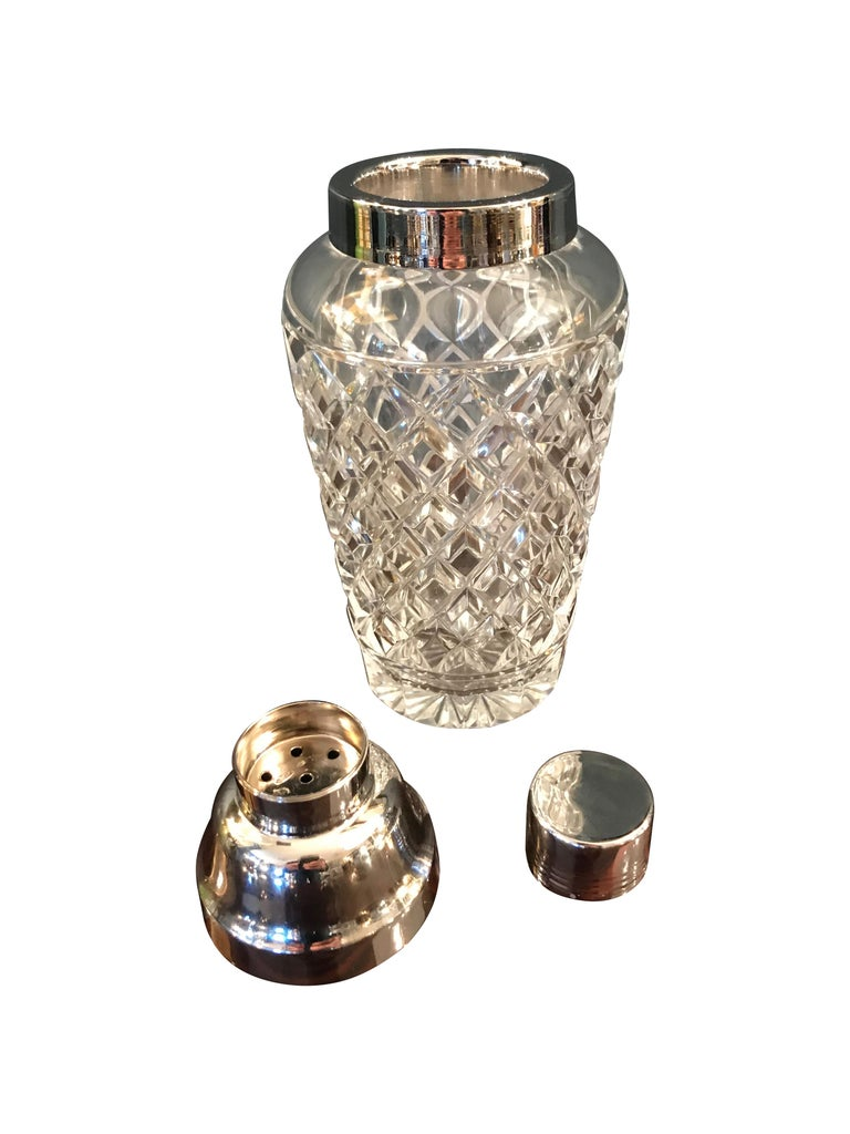 Mid-Century Modern Val St Lambert  Rhodium Plated and Crystal Glass Cocktail Shaker For Sale