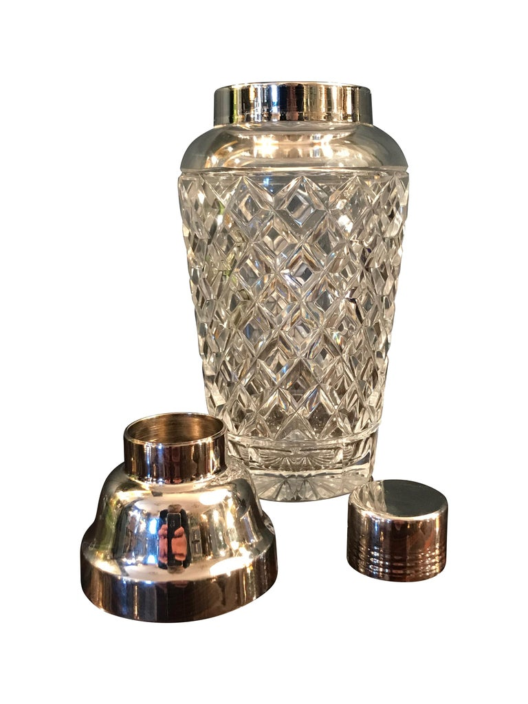 Val St Lambert  Rhodium Plated and Crystal Glass Cocktail Shaker In Good Condition For Sale In London, GB