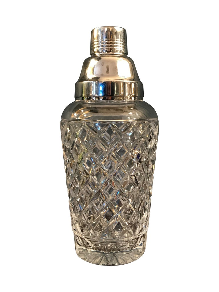 Mid-20th Century Val St Lambert  Rhodium Plated and Crystal Glass Cocktail Shaker For Sale