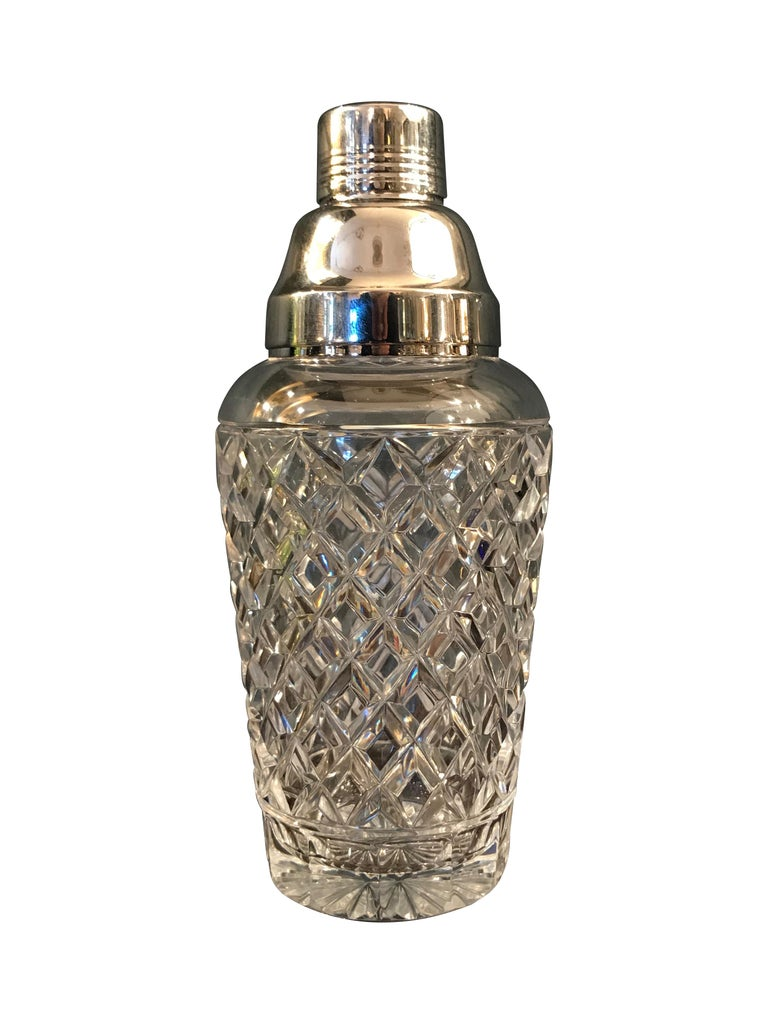 Silver Plate Val St Lambert  Rhodium Plated and Crystal Glass Cocktail Shaker For Sale