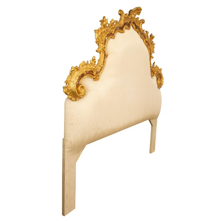 Italian Venetian 18th Century Mother of Pearl, Giltwood King Sized Headboard For Sale