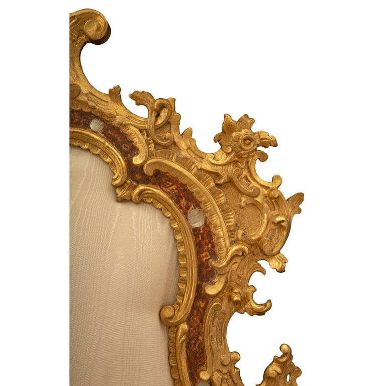 Venetian 18th Century Mother of Pearl, Giltwood King Sized Headboard For Sale 1