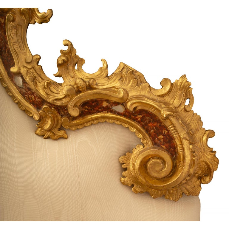 Venetian 18th Century Mother of Pearl, Giltwood King Sized Headboard For Sale 2