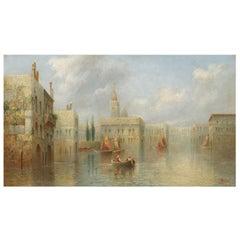 """""""A Venetian Capriccio"""" Antique Landscape Painting by James Salt"""