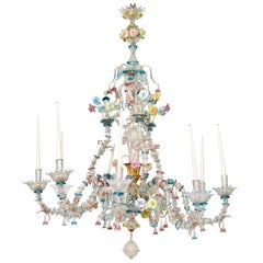 Venetian Polychrome Murano Glass 8-Light Chandelier