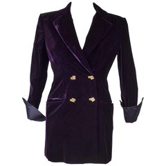 A Versace Cardinal Purple Velvet Evening Tuxedo Jacket Circa 2000