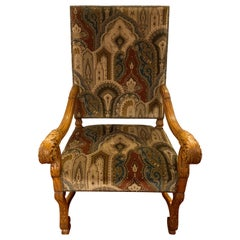 Versace Style Fabric Throne Chair, circa 1930s