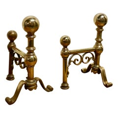 Very Attractive Pair of Brass Andirons