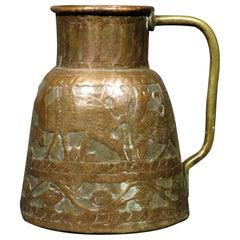 Very Decorative Hand Hammered Copper Jug, India Circa 1900