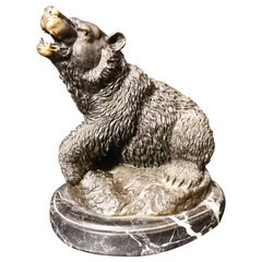 Very Detailed Bronze Bear Over Marble Stand 20th Century