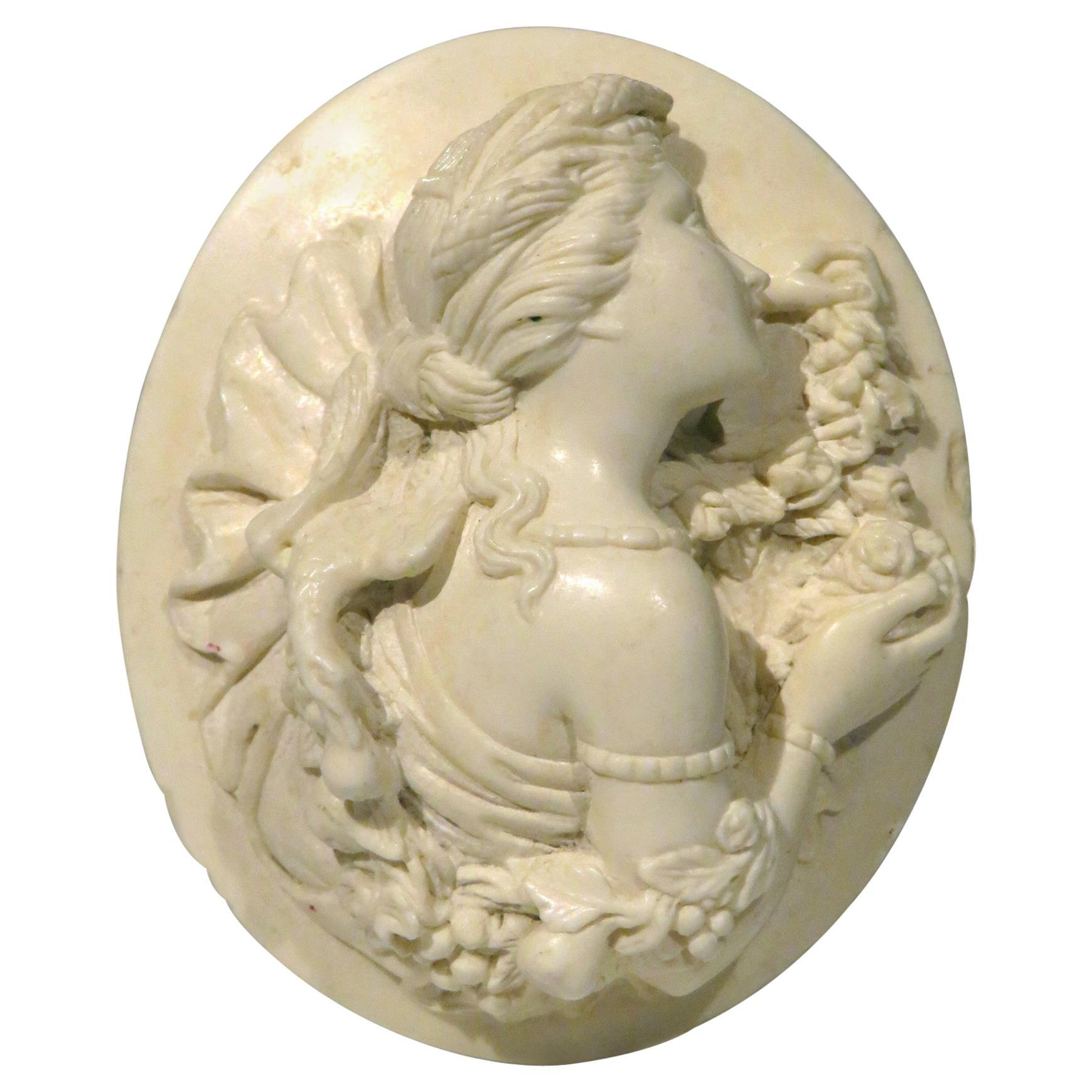 Very Fine 19th Century Carved Lava Cameo, Continental Circa 1870